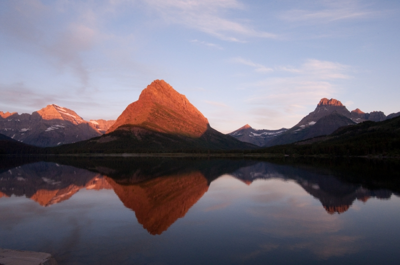 View Of Mountains On Swiftcurrent Lake