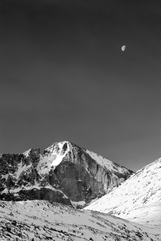 Longs Peak And Moon, Rocky Mountain National Park