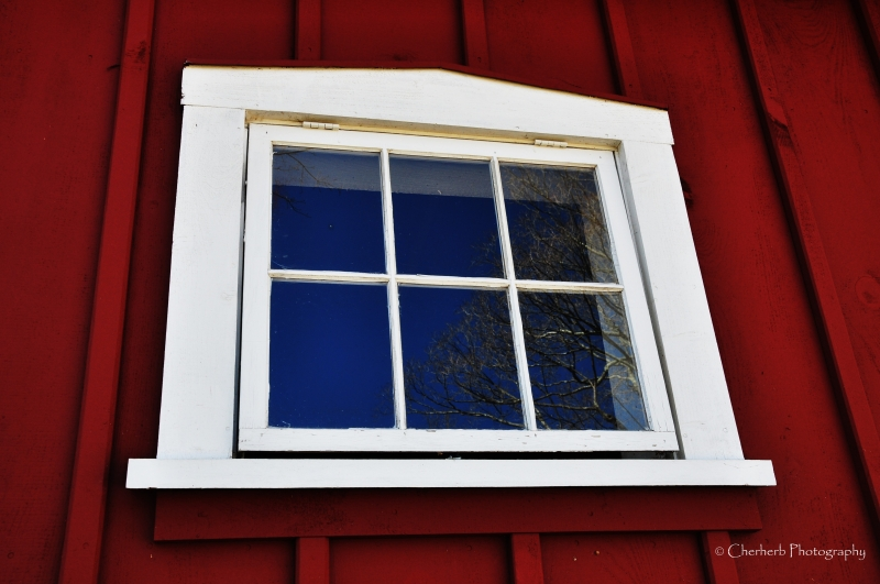 Reflection In Barn Window