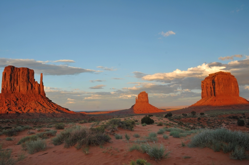 Monument Valley In The Sunset Lights.