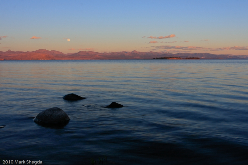 Yellowstone Lake Sunset-moonrise