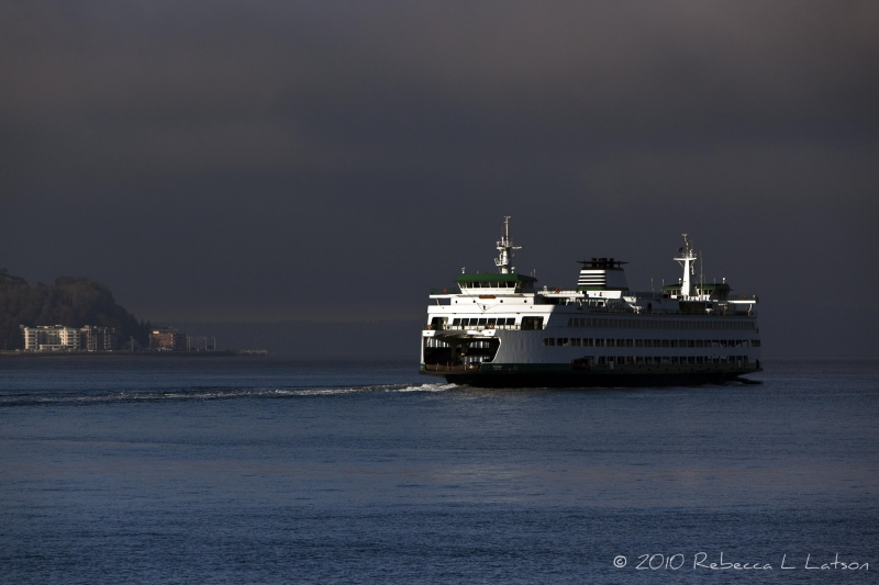 Washington State Ferry In Elliott Bay, Seattle Wa
