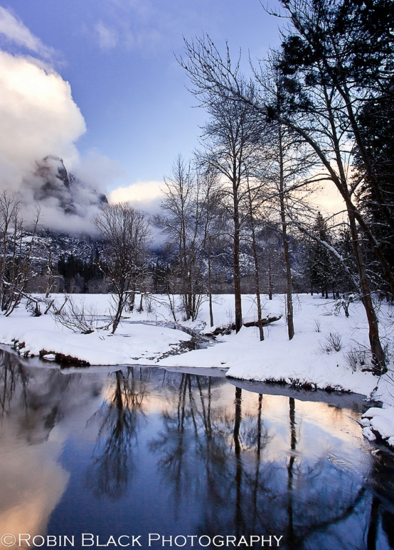 Snowy Merced River At Sunset