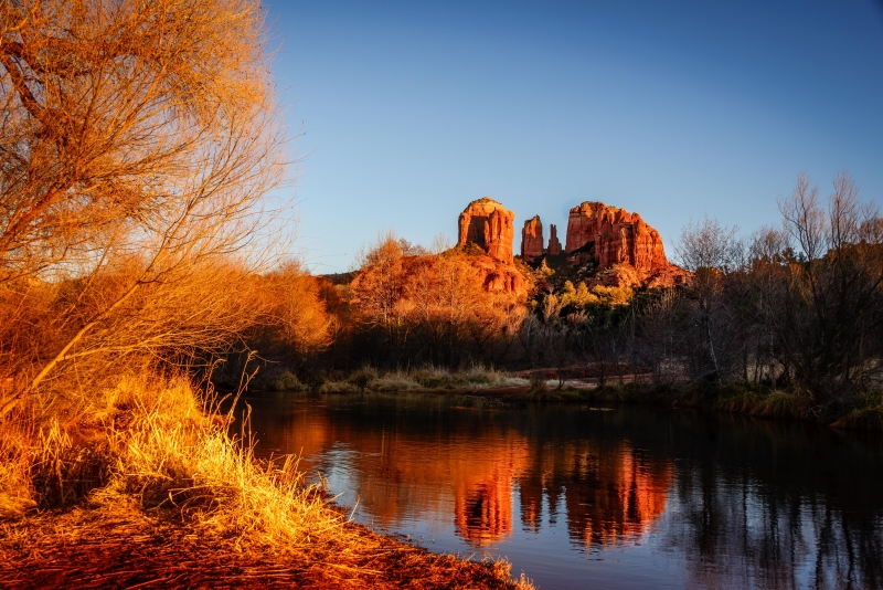 Winter Sunset Colors On Cathedral Rock
