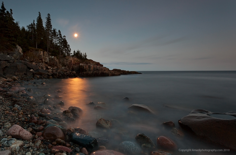 Moon Rise Over Otter Point, Acadia National Park
