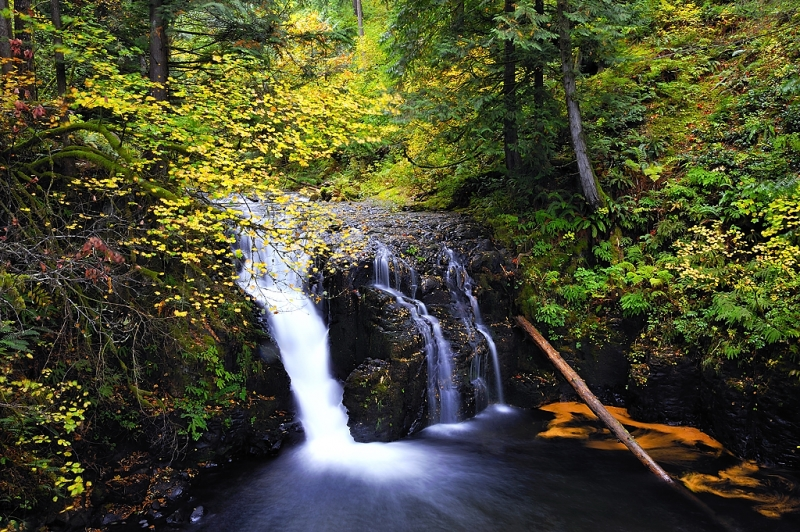 Upper Multnomah Falls In Autumn Colors