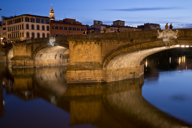 Florence Bridge Reflection At Night