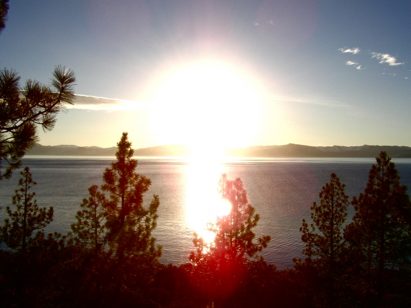 Lake Tahoe Sunset With A Blue Sky
