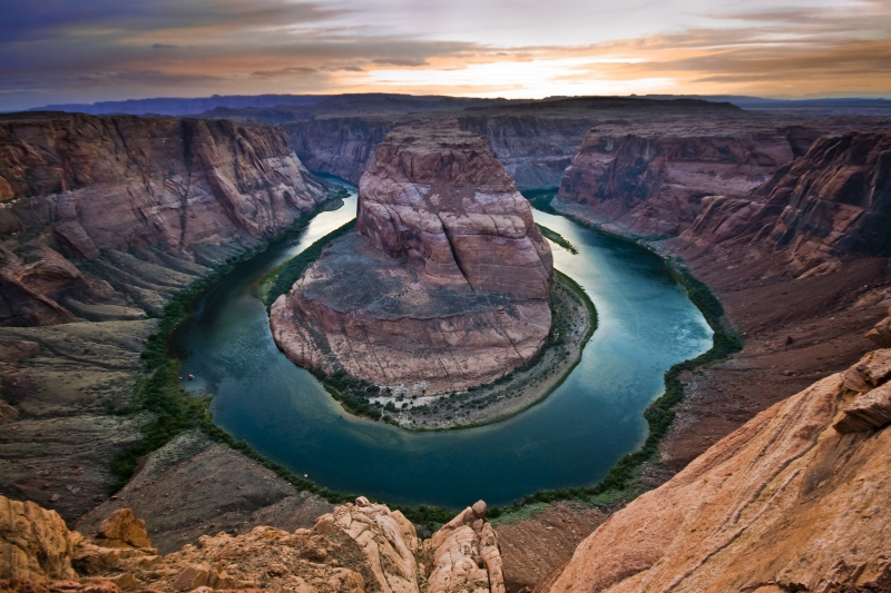 Horseshoe Bend At Twilight