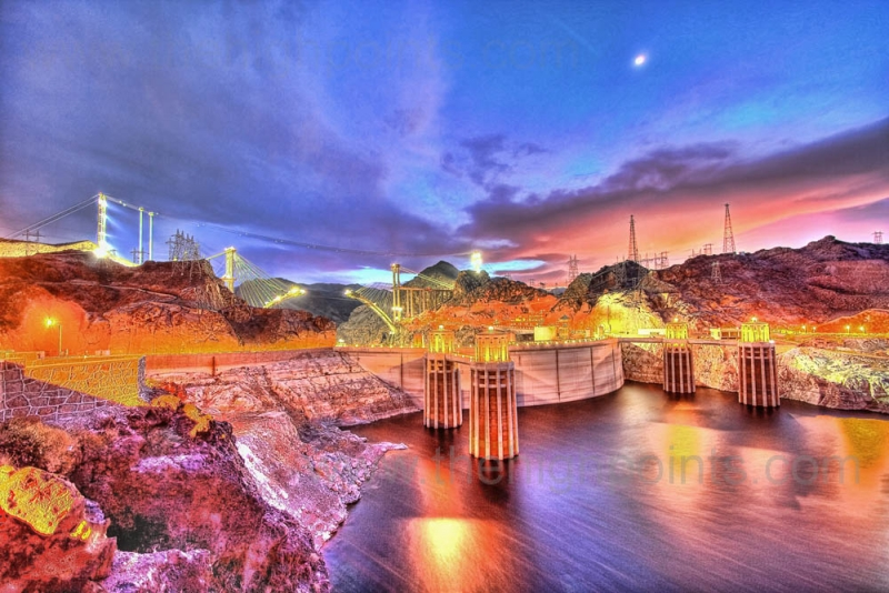 Hoover Dam And The Us-93 Bypass Bridge At Sunset