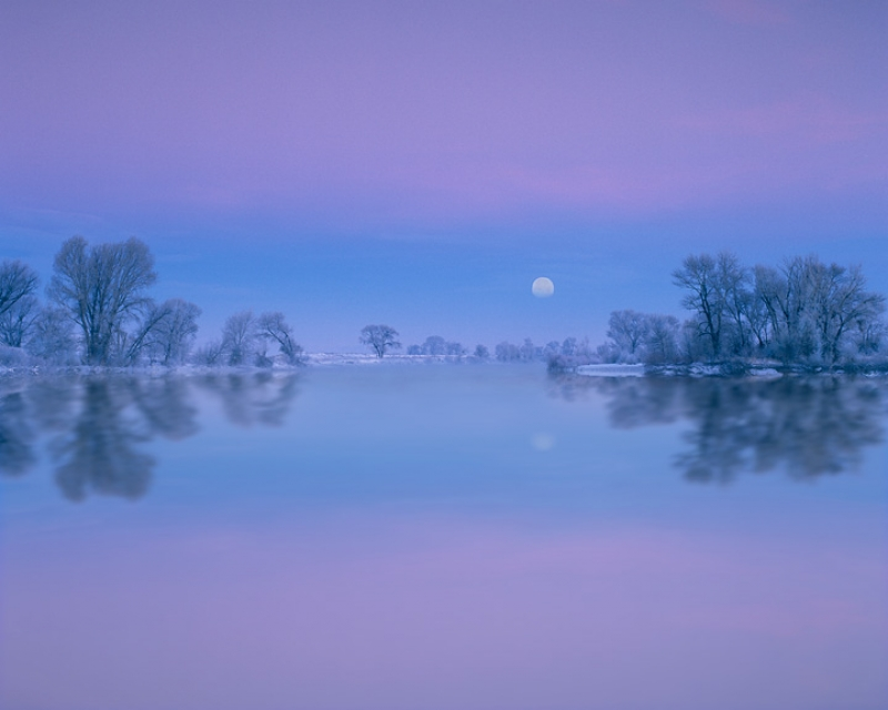 Winter Moonset