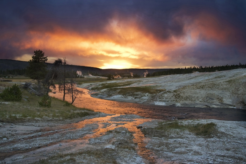 Firehole River On Fire