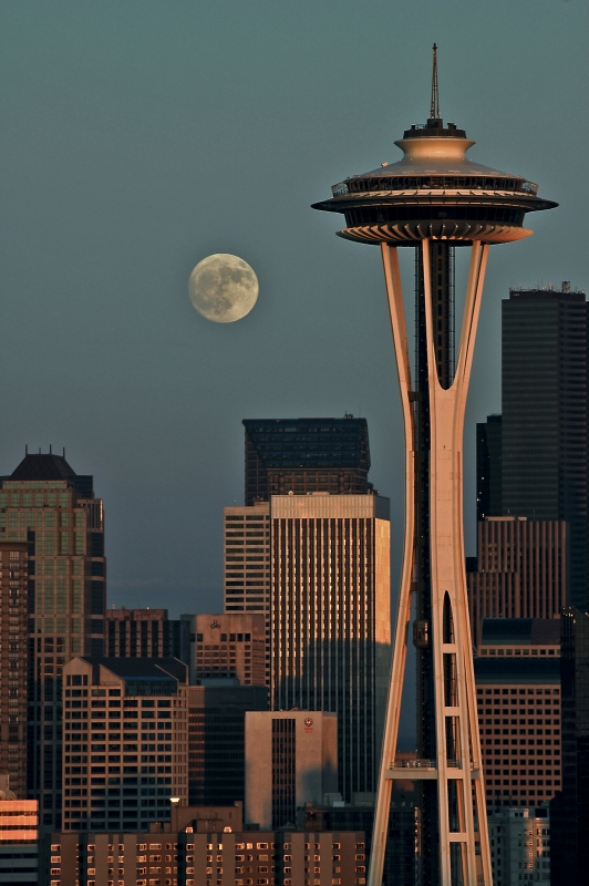 Moonrise Over The Space Needle