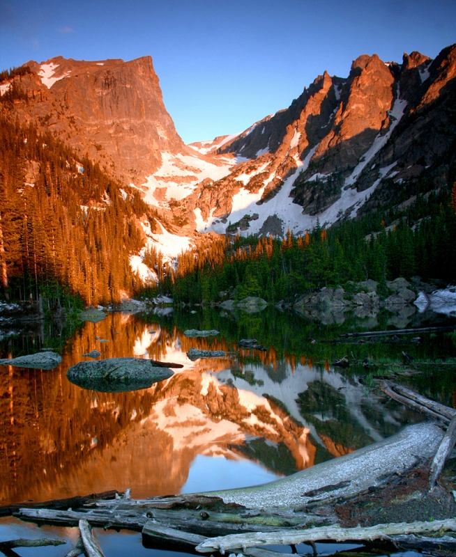 Hallett Peak And Flattop Mtn. Reflected