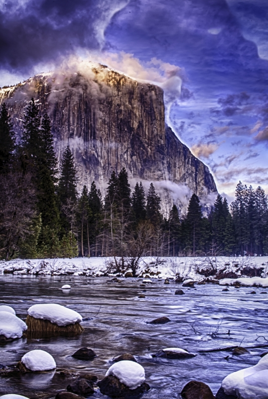 Winter Storm Clouds Gather At Sunset Over Yosemite