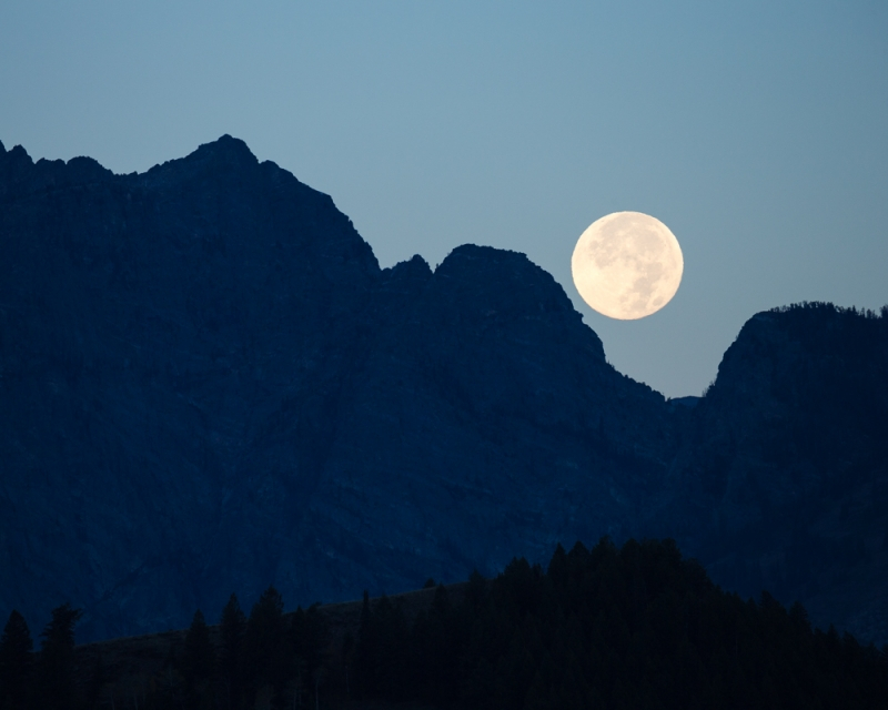 Super Moon Over The Grand Tetons