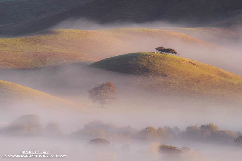 Hills, Fog, And Sunrise