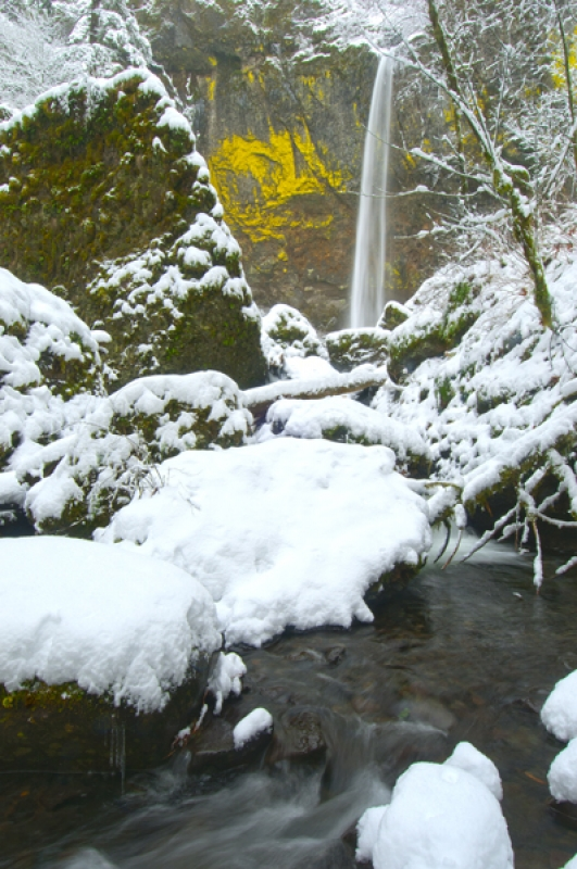 Elewah Falls In Winter