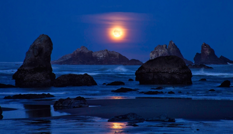 Setting Moon Over Sea Stacks