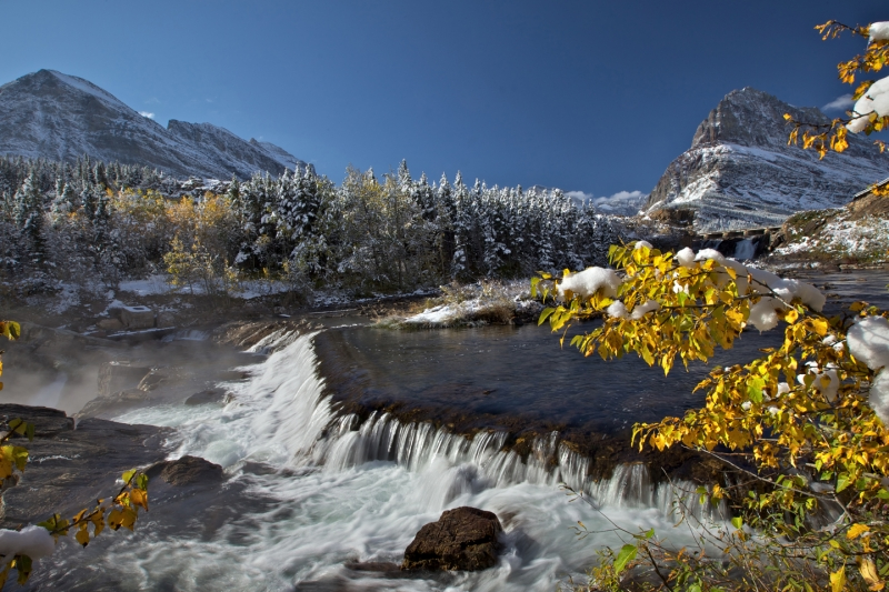 Autumn At Swiftcurrent Falls
