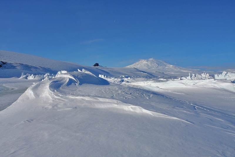 Pressure Ridges And Mt. Erebus