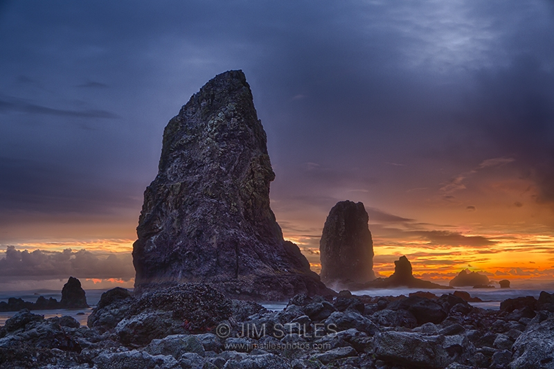 Sunset Over The Cannon Beach Sea Stacks