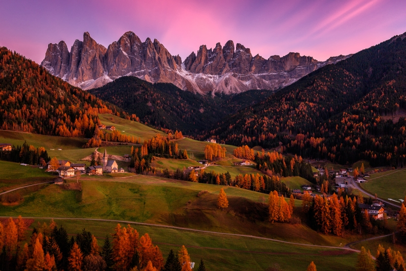 Val Di Funes At Twilight