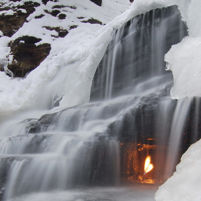 Eternal Flame Waterfall In Winter