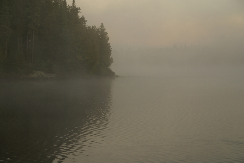 Foggy Sunset Over Source Lake