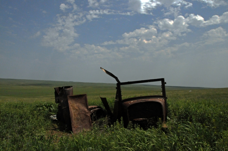 Abandoned Car In The Prairie