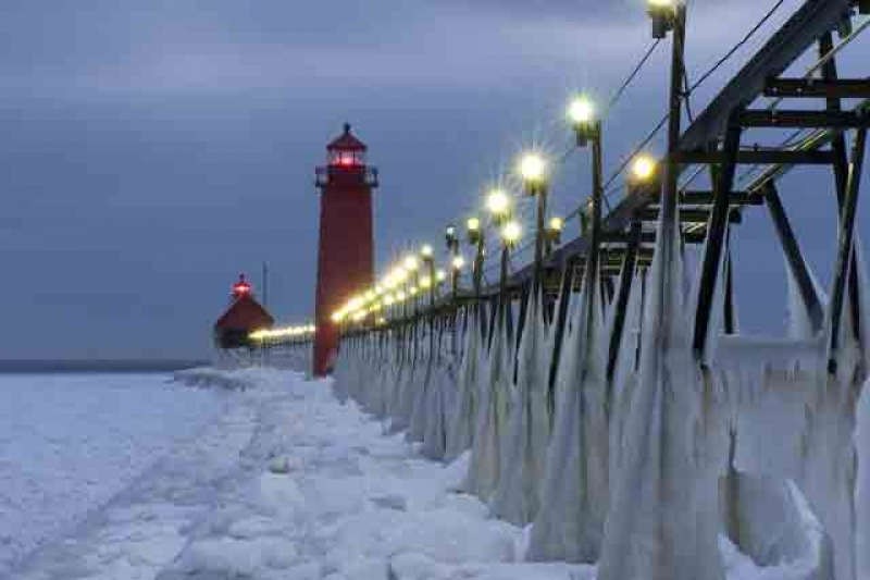 Grand Haven Lighthouse Iced Over