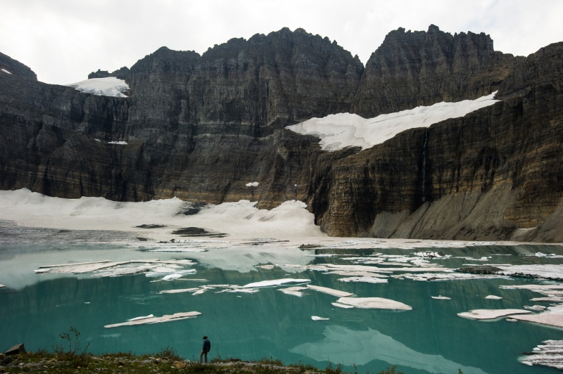 Lone Hiker By The Grinnel Glacier, Glacier Np