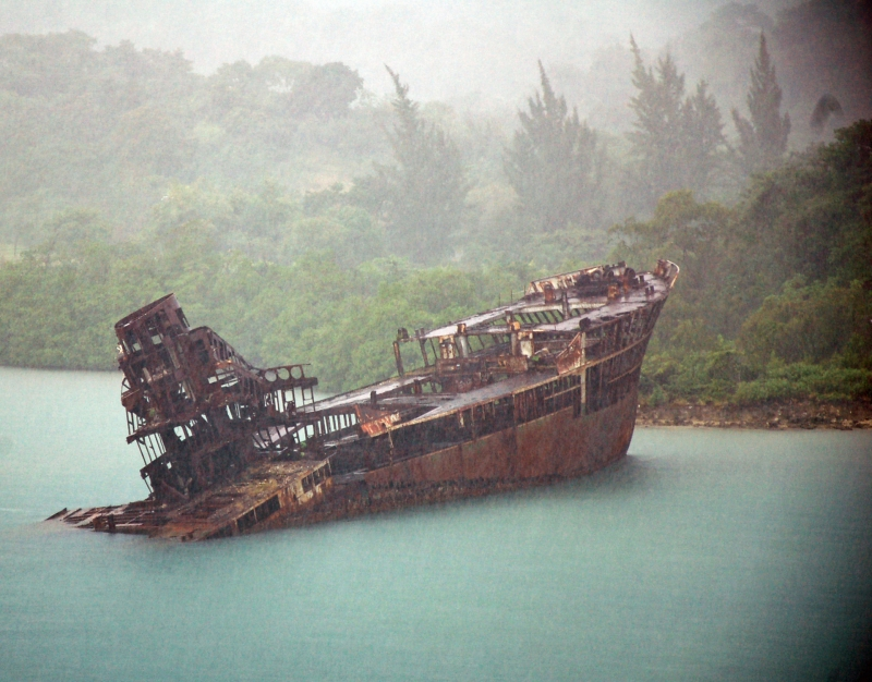 A Rusted Boat In The Mist.