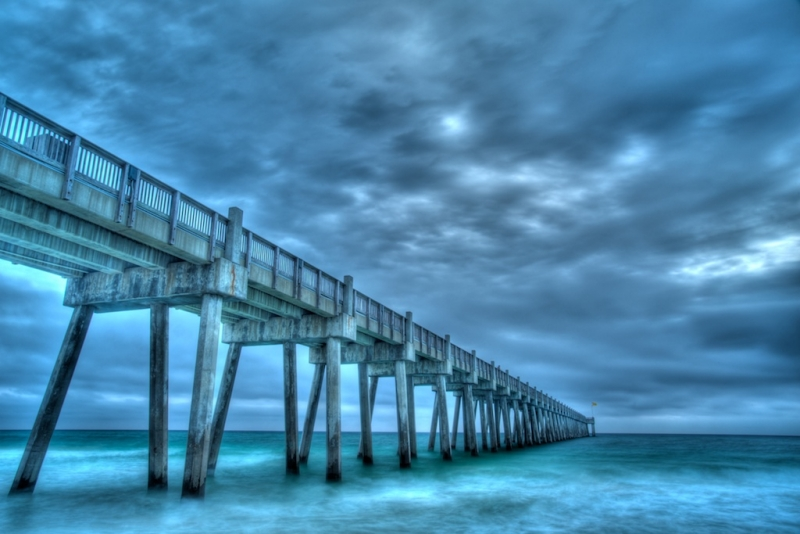Pensacola Beach Pier In Winter