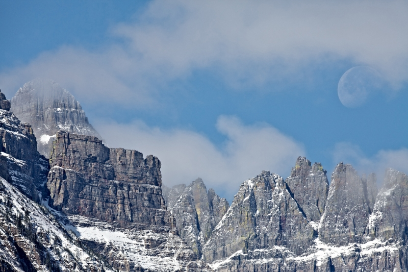Moon Over Mt. Wilbur In Glacier National Park