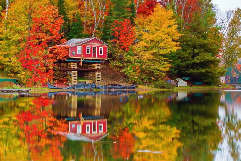 Vermont, Stowe, Mountain Mansfield, Fall Colors