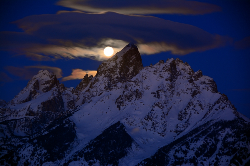 Full Moon Sets Over The Tetons