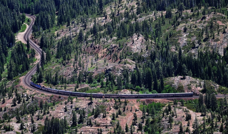 Amtrak Cal Zephyr Heads East Toward Donner Pass