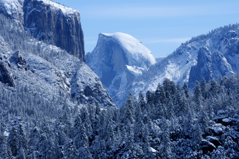 Half Dome In Fresh Snow.