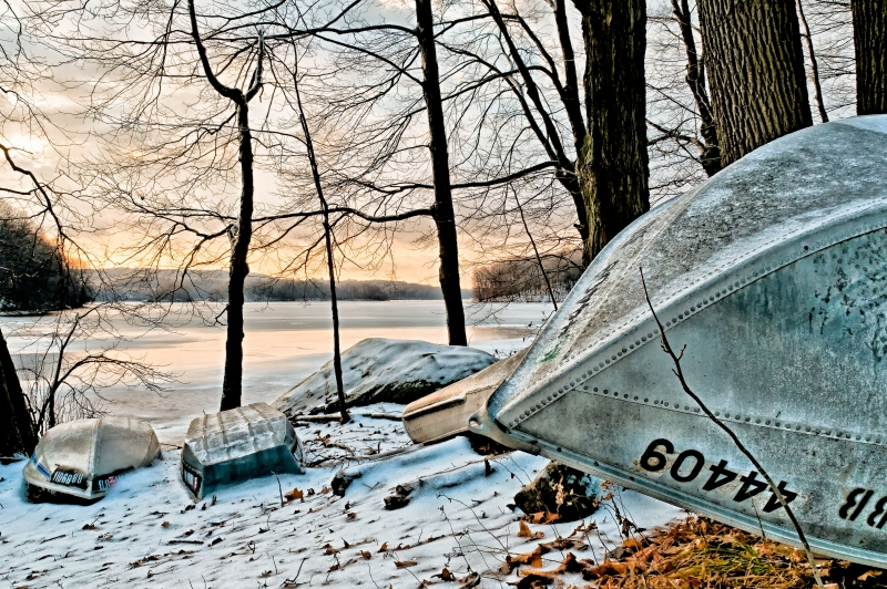 Boats, Winter, Snow, Early Morning