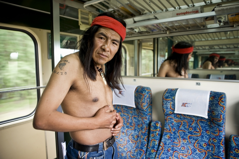 Native American In Polish Train