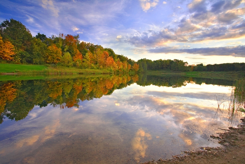Ohio, Cuyahoga Valley National Park, Indigo Lake, Fall Colors,, Reflection, Sunset