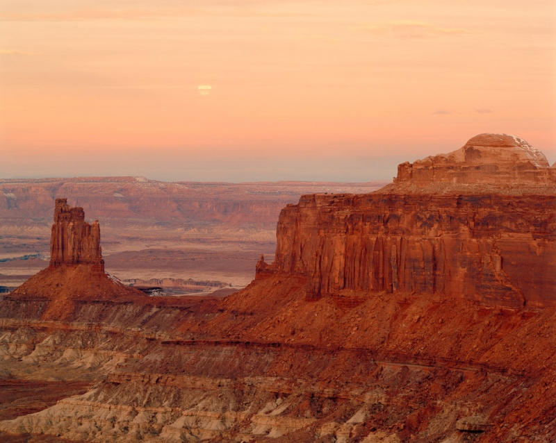 Setting Moon At Sunrise, Winter, Green River Overlook, Canyonlands National Park, Utah