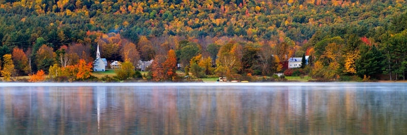 Church And Red Barn On Crystal Lake, Autumn