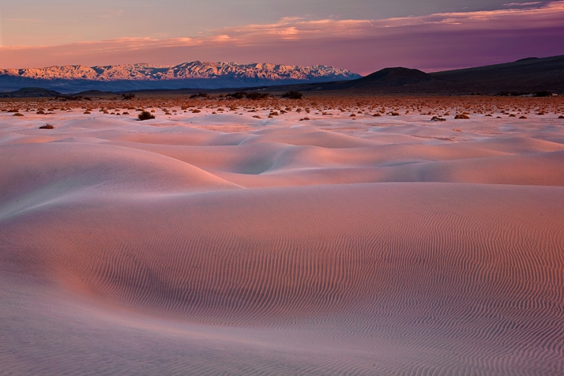 California, Death Valley National Park, Mesquite Dunes, Sunset