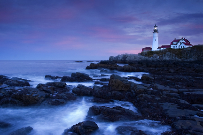 Portland Light House At Sunset