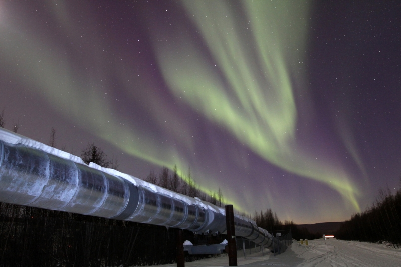 Aurora Over The Alaska Pipeline