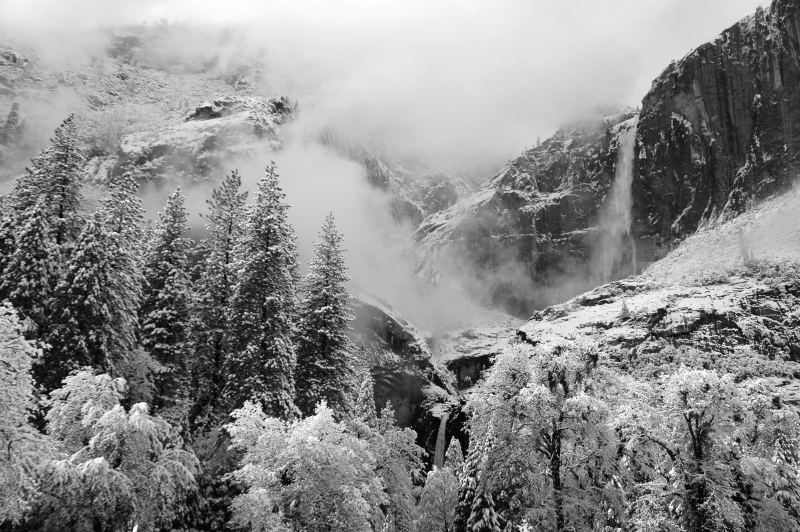 Winter Blanketing Of Yosemite Falls