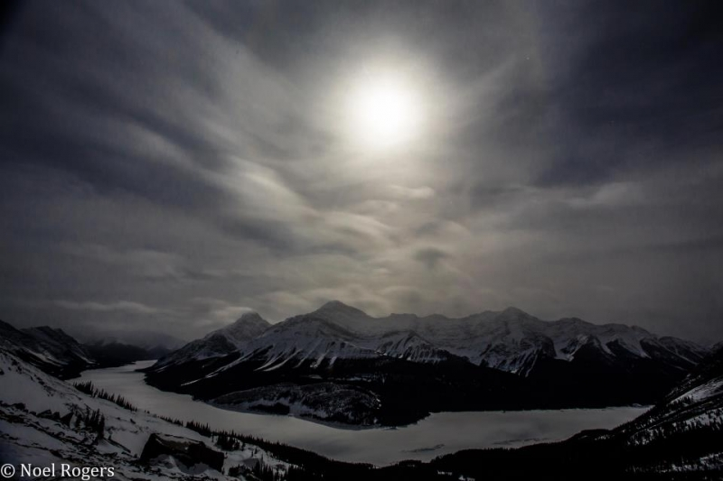 Frozen Spray Lake Under A Full Moon. Kananaskis – Alberta