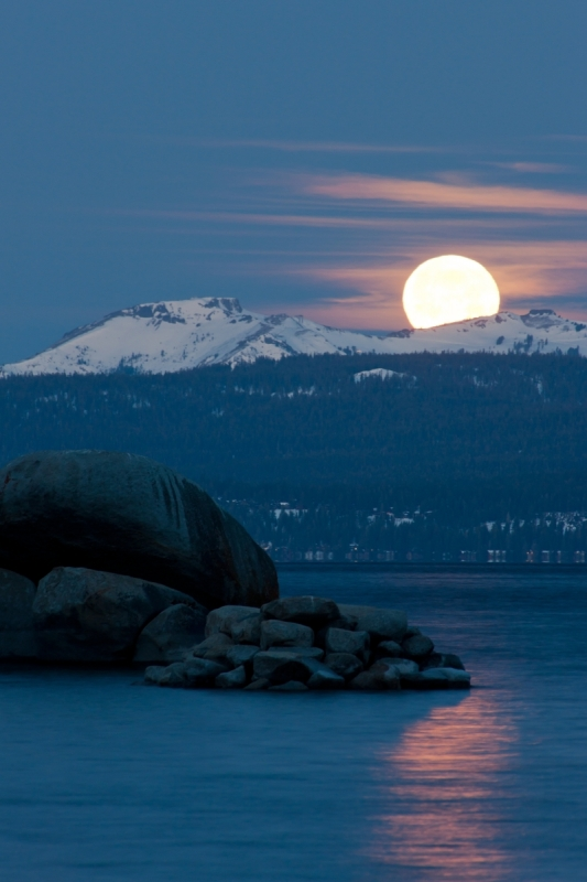 Full Moon Setting Over Tahoe 1